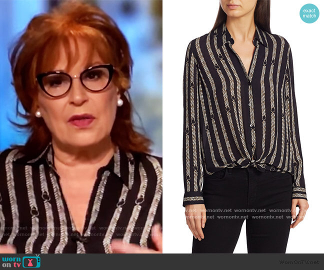 Nina Aguillette Printed Silk Blouse by L'Agence worn by Joy Behar  on The View