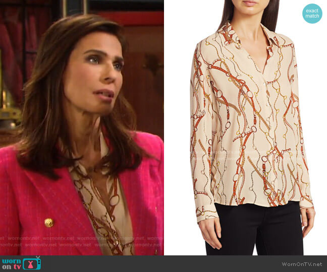 Nina Belt Print Silk Blouse by L'Agence worn by Hope Williams (Kristian Alfonso) on Days of our Lives
