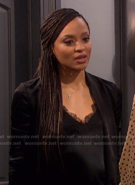 Lani's black lace-trim camisole on Days of our Lives
