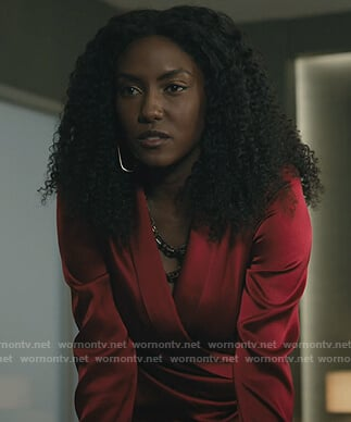 Lauren's red satin wrap blouse on Billions