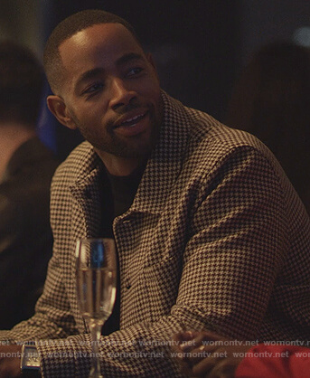 Lawrence's gingham print jacket on Insecure
