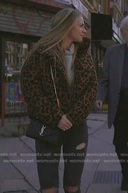 Leah's leopard puffer jacket on The Real Housewives of New York City