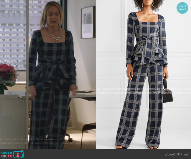 Belted Checked Woven Peplum Blouse and PAnts by Lela Rose worn by Jacqueline (Melora Hardin) on The Bold Type