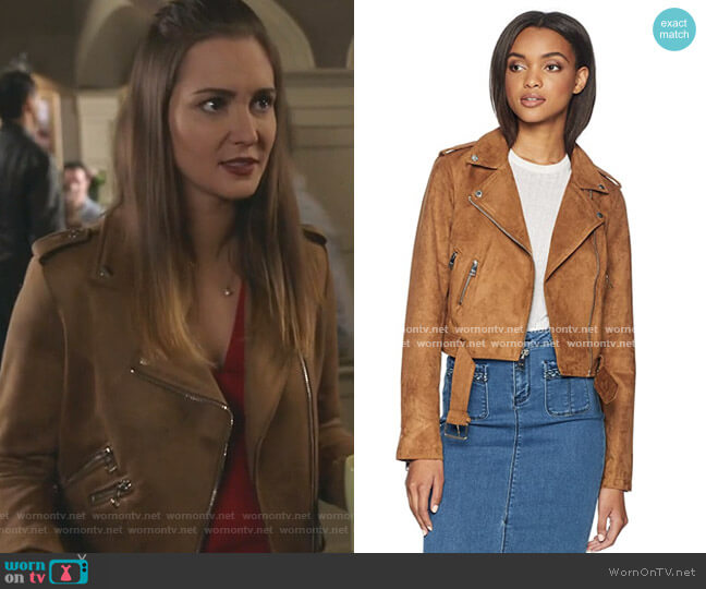 Faux Suede Moto Jacket by Levi's worn by Joy Harper (Katherine Barrell) on Good Witch
