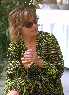 Lisa's green tiger print wrap dress on The Real Housewives of Beverly Hills