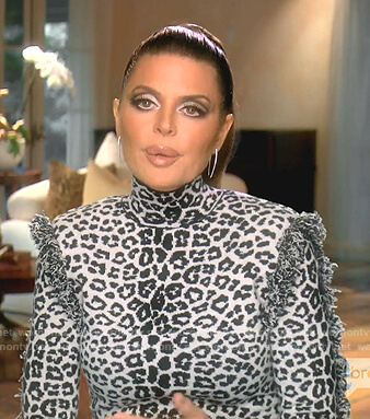 Lisa's white leopard fringed dress on The Real Housewives of Beverly Hills