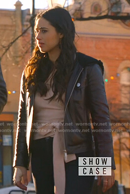 Liz's black hooded leather jacket on Roswell New Mexico