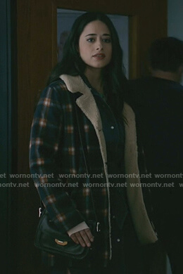 Liz's plaid shearling coat on Roswell New Mexico