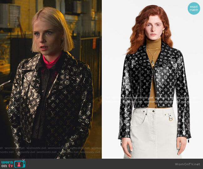 Monogram Printed Leather Biker Jacket by Louis Vuitton worn by Astrid (Lucy Boynton) on The Politician
