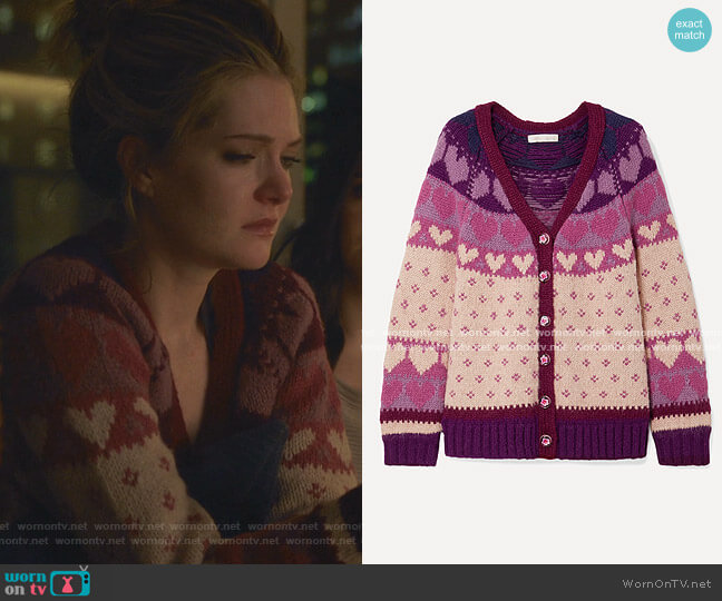 Deena Intarsia-Knit Cardigan by Loveshackfancy worn by Sutton (Meghann Fahy) on The Bold Type