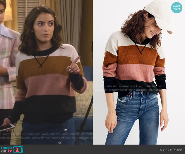 Cashmere Sweatshirt in Vernon Stripe by Madewell worn by Ramona Gibbler (Soni Nicole Bringas) on Fuller House