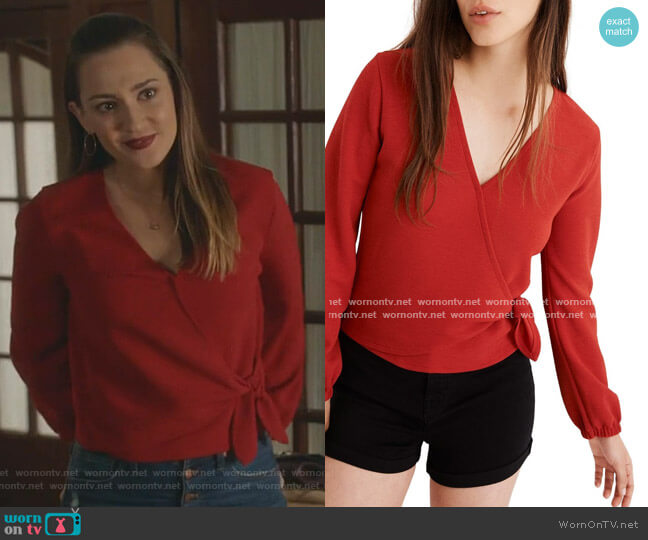 Texture & Thread Crepe Wrap Top by Madewell worn by Joy Harper (Katherine Barrell) on Good Witch
