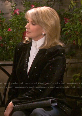 Marlena's black embellished velvet blazer on Days of our Lives