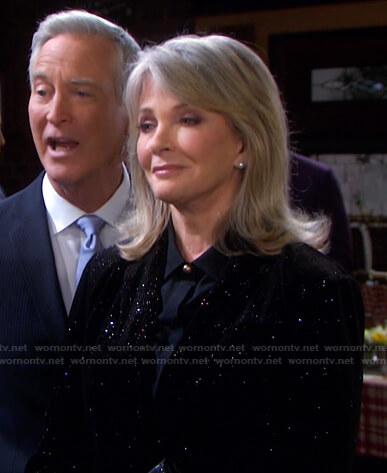 Marlena's black embellished velvet blazer on Days of our Lives