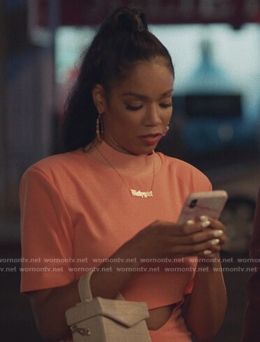 Mazda's orange cutout dress on Insecure