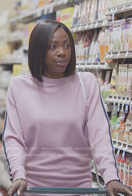 Molly's pink side stripe tracksuit on Insecure