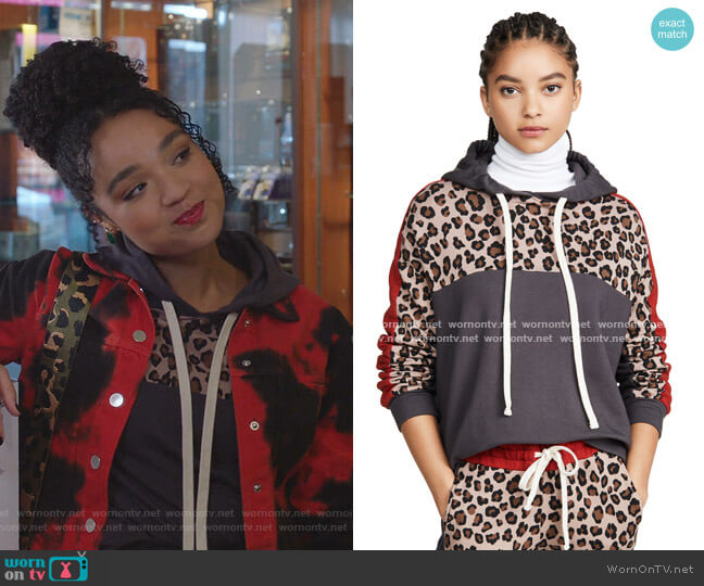 Print Block Pullover Hoodie by Monrow worn by Kat Edison (Aisha Dee) on The Bold Type