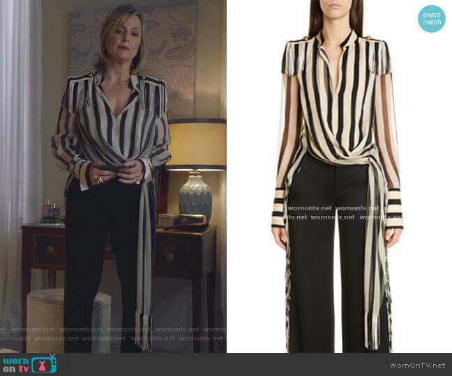 Regalia Stripe Fringe Silk Chiffon Top by Monse worn by Jacqueline (Melora Hardin) on The Bold Type