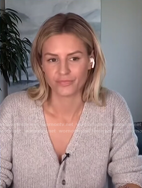 Morgan's grey v-neck cardigan on E! News Daily Pop