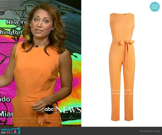 Belted Jumpsuit by New York & Company worn by Ginger Zee  on Good Morning America