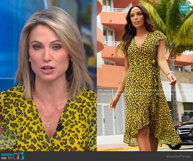 Cheetah Print Hi-Lo Wrap Dress by New York & Company worn by Amy Robach  on Good Morning America