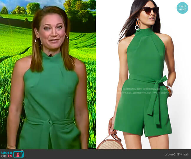 Halter Romper by New York & Company worn by Ginger Zee  on Good Morning America