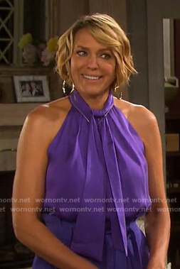 Nicole's purple tie halter top and pants on Days of our Lives