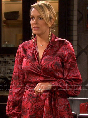 Nicole's red print satin wrap dress on Days of our Lives