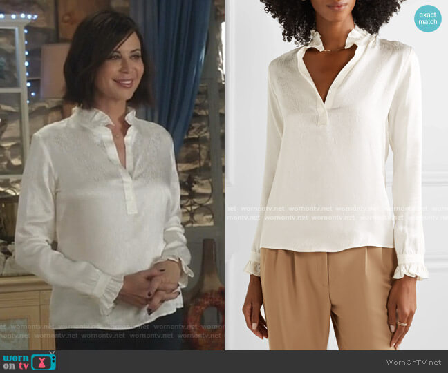 Esther Silk Blouse by Nili Lotan worn by Cassandra Nightingale (Catherine Bell) on Good Witch