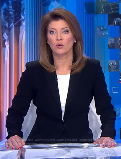 Norah's black blazer on CBS Evening News