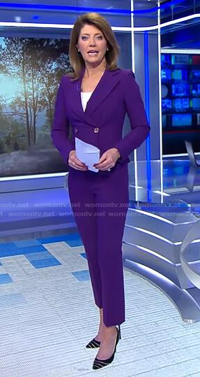 Norah's purple suit on CBS Evening News