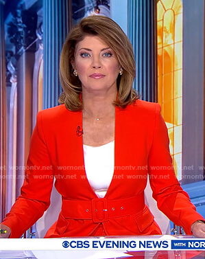 Norah's red lapelless blazer on CBS Evening News