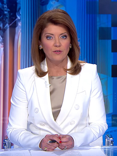 Norah's white blazer with contrast stitching on CBS Evening News
