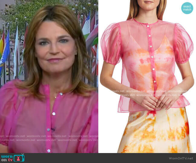 Organza Short Puff-Sleeve Silk Blouse by Dannijo worn by Savannah Guthrie  on Today