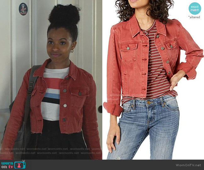 Vivienne Raw Hem Denim Jacket by Paige worn by Ani (Grace Saif) on 13 Reasons Why