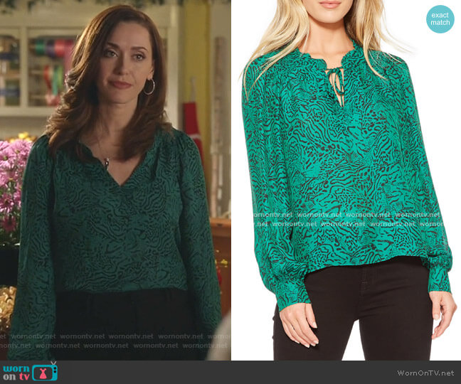 Aussie Jungle Print Silk Blend Blouse by Parker worn by Abigail Pershing (Sarah Power) on Good Witch
