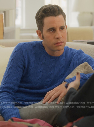 Payton's blue cable knit sweater on The Politician