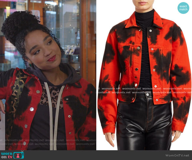 Blotted Cropped Denim Jacket by Proenza Schouler White Label worn by Kat Edison (Aisha Dee) on The Bold Type