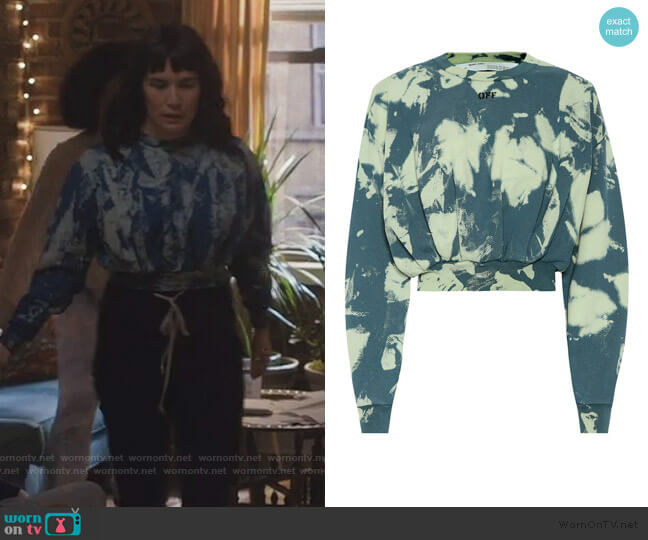 Tie-dye printed cotton sweater by Off-White worn by Sara (Zoe Chao) on Love Life