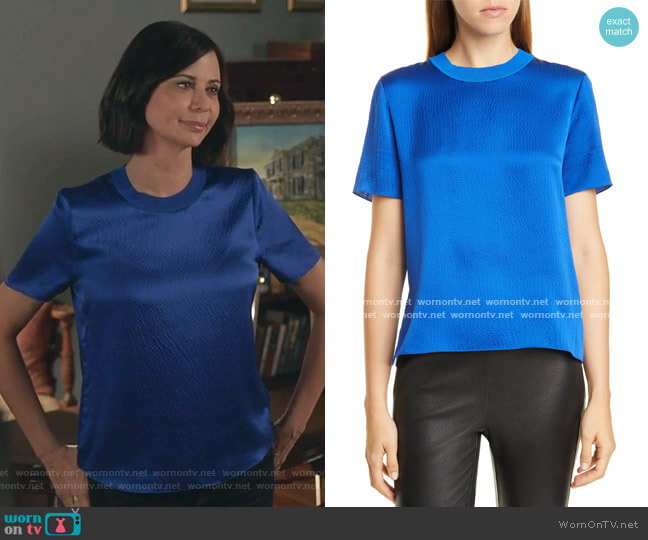 Ali Silk Tee by Rag & Bone worn by Cassandra Nightingale (Catherine Bell) on Good Witch