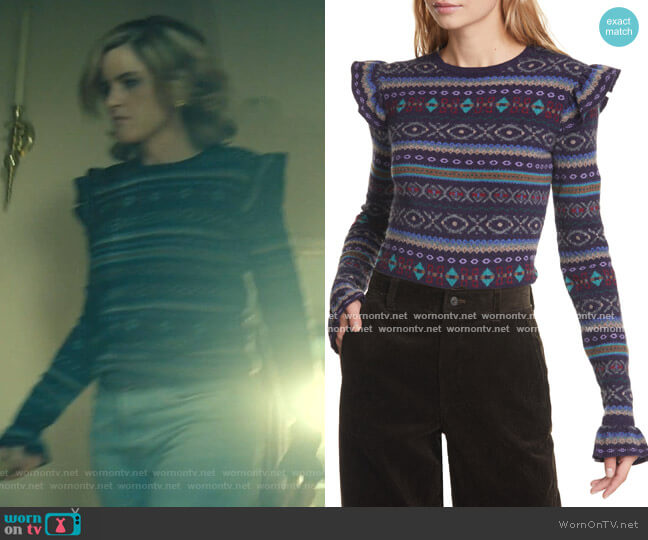 Fair Isle Ruffle Sleeve Merino Wool Blend Sweater by Ralph Lauren worn by Betty Broderick (Amanda Peet) on Dirty John