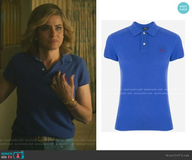 Ribbed Knit Polo Top by Polo Ralph Lauren worn by Betty Broderick (Amanda Peet) on Dirty John