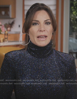 Luann's black metallic dress on The Real Housewives of New York City