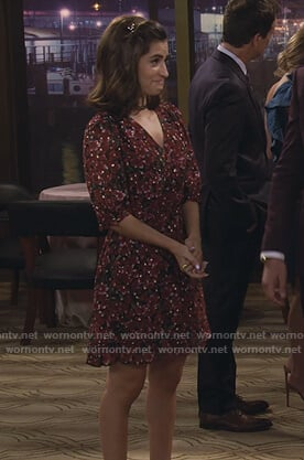 Ramona's red floral v-neck dress on Fuller House
