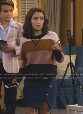 Ramona's striped sweater and denim skirt on Fuller House