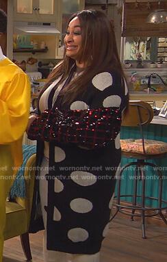 Raven's black polka dot long cardigan on Ravens Home