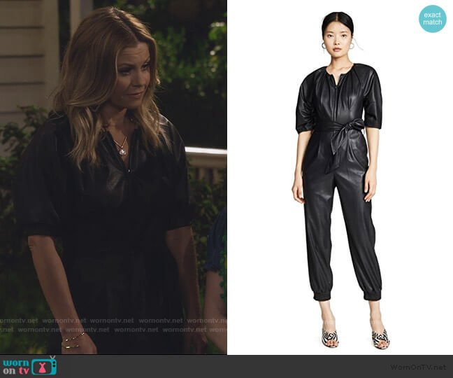 Short Sleeve Vegan Leather Jumpsuit by Rebecca Taylor worn by DJ Tanner-Fuller (Candace Cameron Bure) on Fuller House