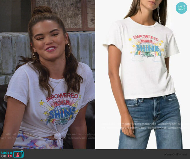 Shine Graphic Print T-shirt by Re/done worn by Alexa Mendoza (Paris Berelc) on Alexa & Katie