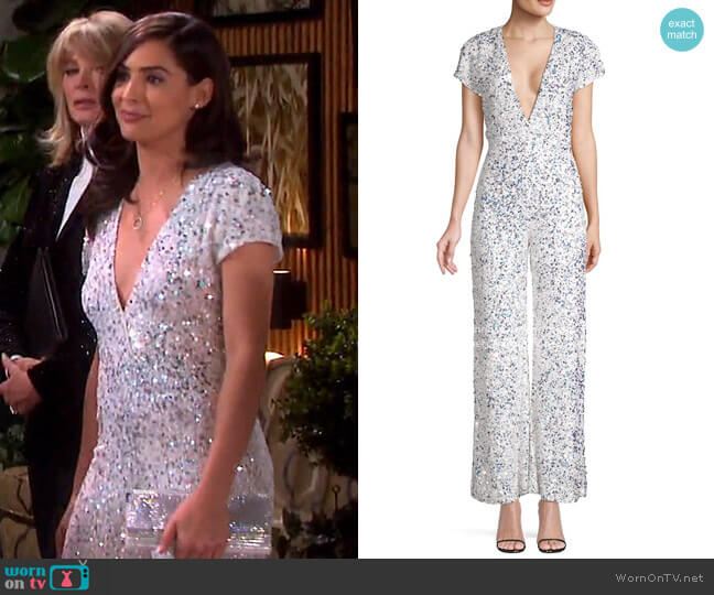 Elise Sequin Cap Sleeve Jumpsuit by Retrofete worn by Gabi Hernandez (Camila Banus) on Days of our Lives