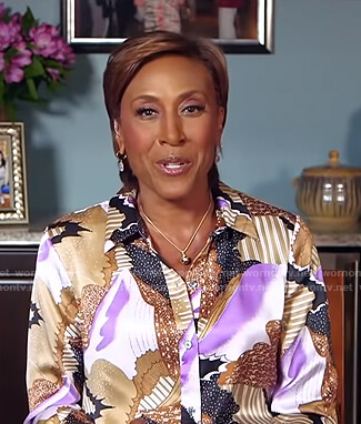 Robin's abstract print blouse on Good Morning America